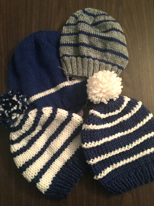 Included are these 4 new Royal blue hats to celebrate my KC Royals in the post-season!